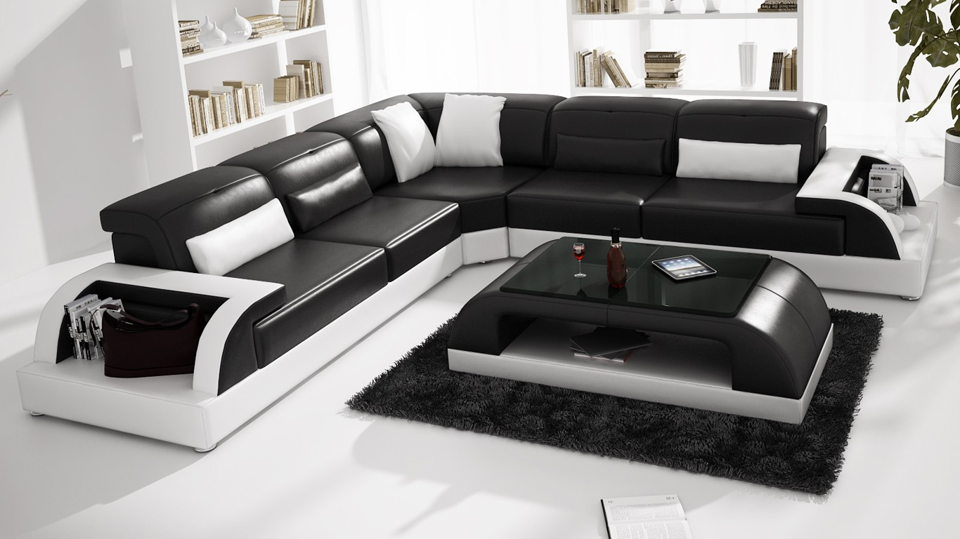 modern large leather sofa corner suite new rrp 5999 black. Black Bedroom Furniture Sets. Home Design Ideas