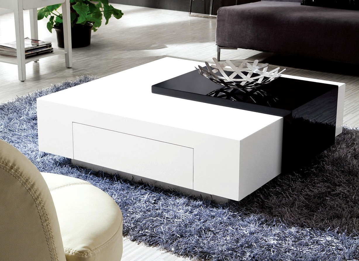 Olympian Sofas Black White High Gloss Coffee Table - Glossy black coffee table