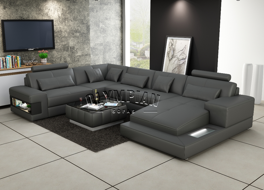 Olympian Sofas Grey Leather corner sofa