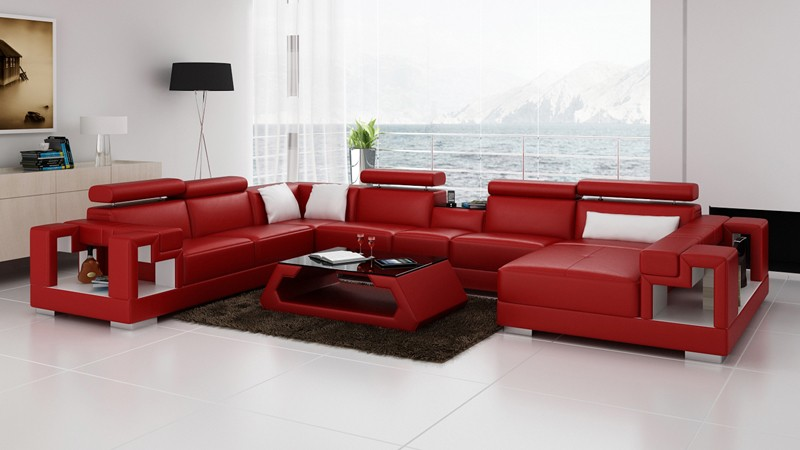 Olympian Sofas Novara Red Leather Sofa - Sectional Sofas