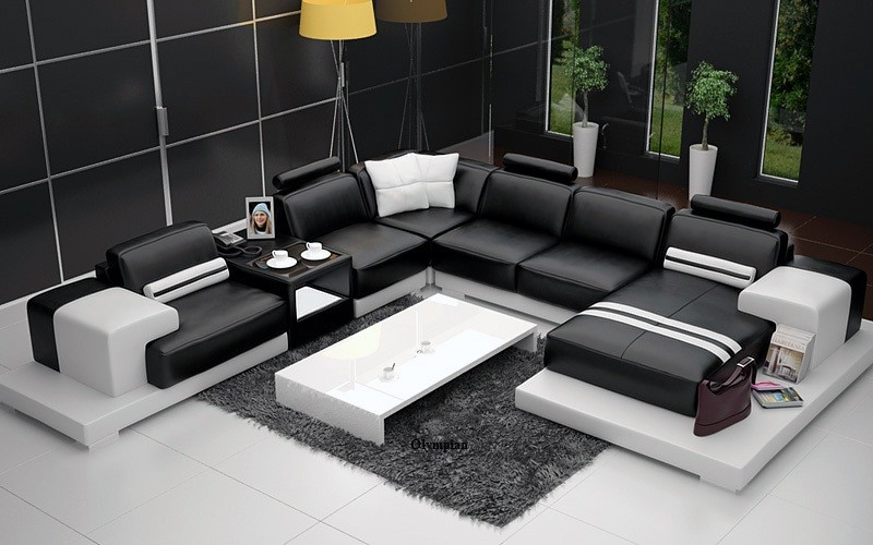 Nurburg Black U0026 White Leather Sofa