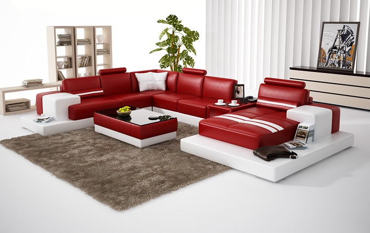 Nurburg Red U0026 White Leather Sofa