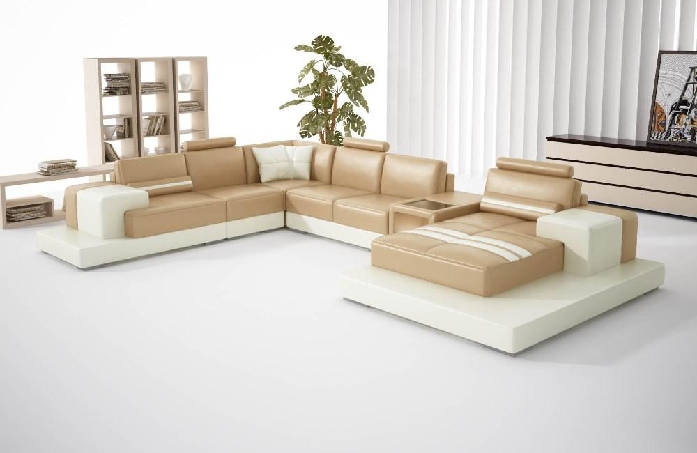 Nurburg Brown & Beige Leather Sofa