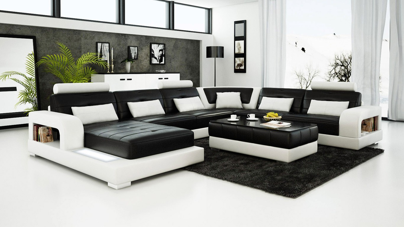 Pesaro Black Leather Sofa **INSTOCK**