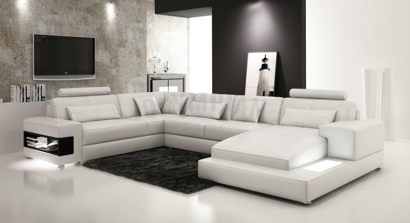 Royal White Leather Sofa