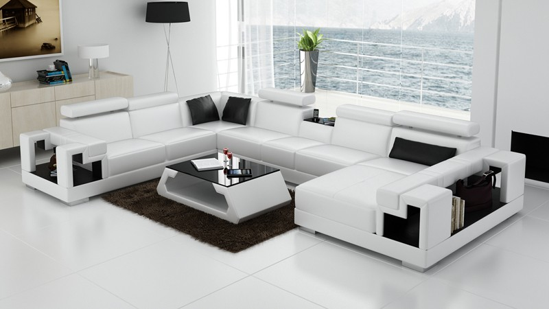 Novara White Leather Corner Sofa