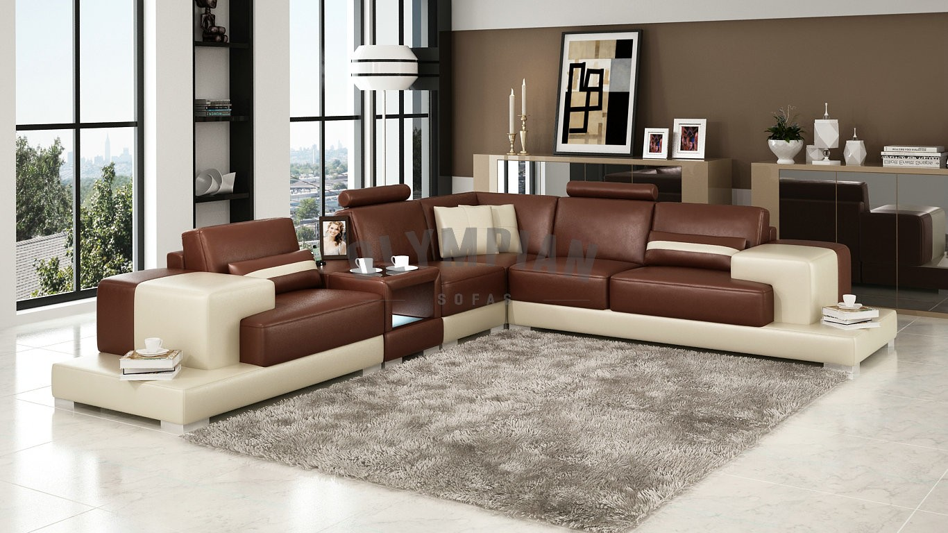 Olympian Sofas Nurburg Brown & Cream Leather Corner Sofa