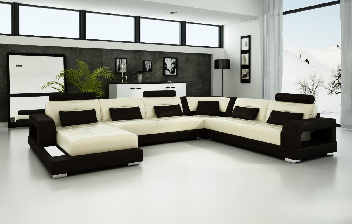 Pesaro Beige U0026 Chocolate Leather Sofa