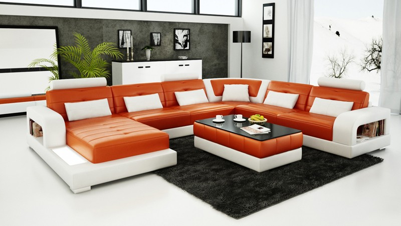 Pesaro Orange Leather Sofa INSTOCK
