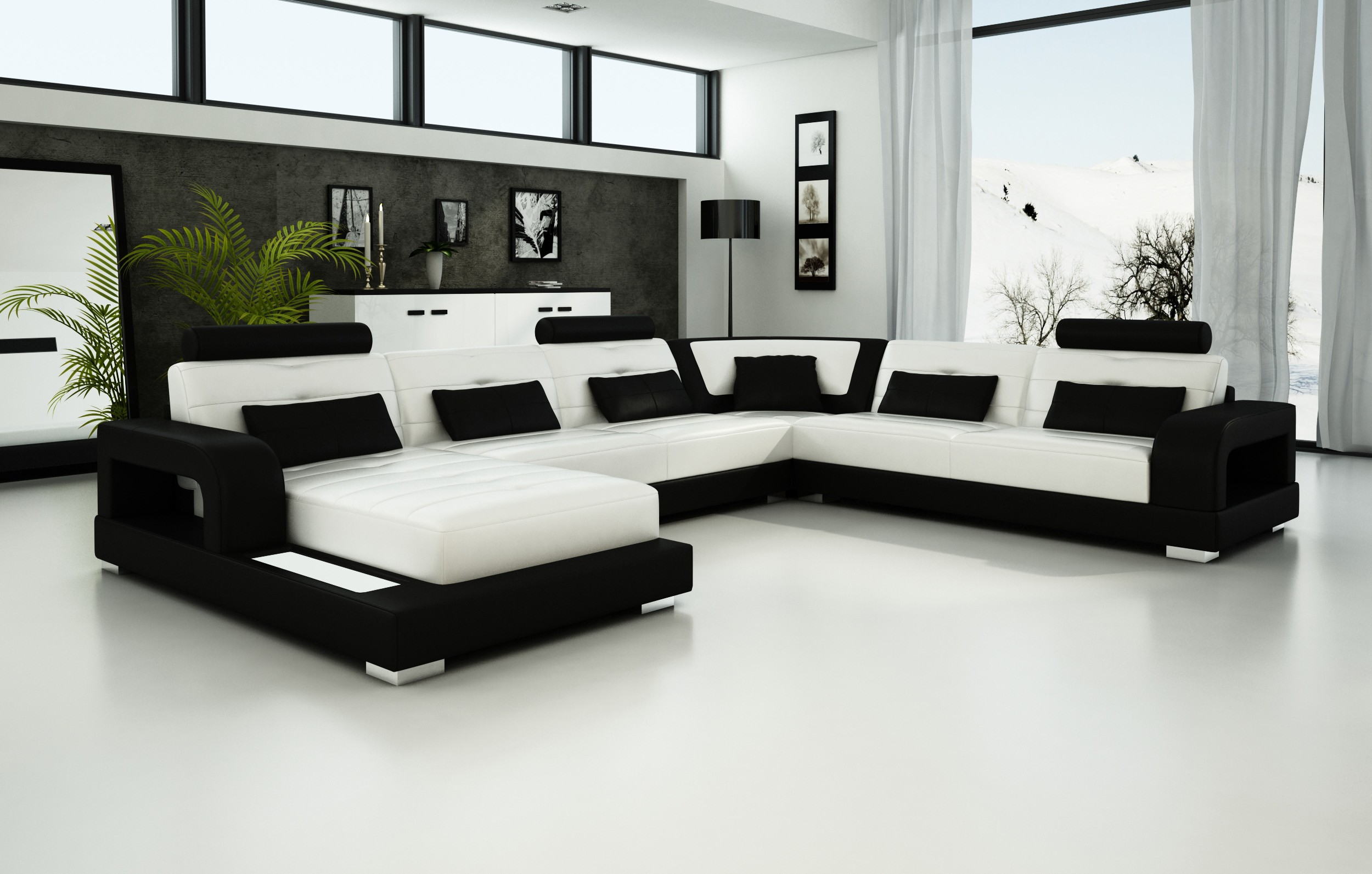 Pesaro White Black Leather Sofa
