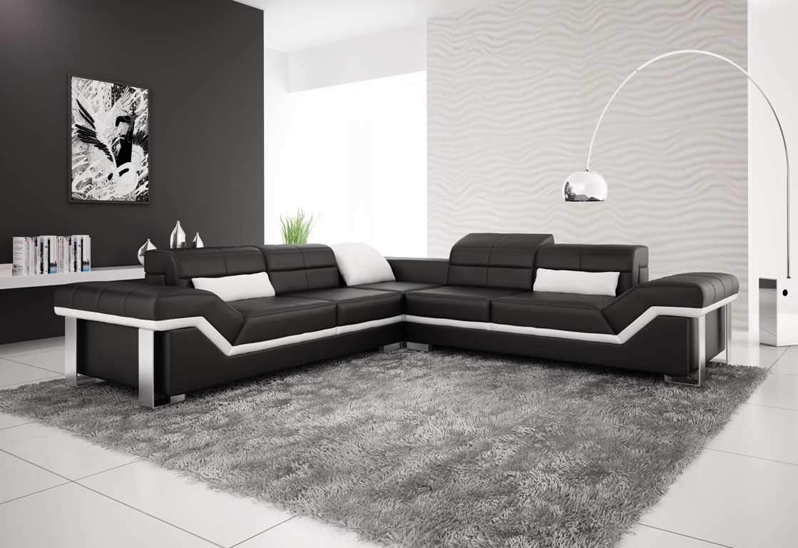 Rimini Black Leather Sofa **INSTOCK**