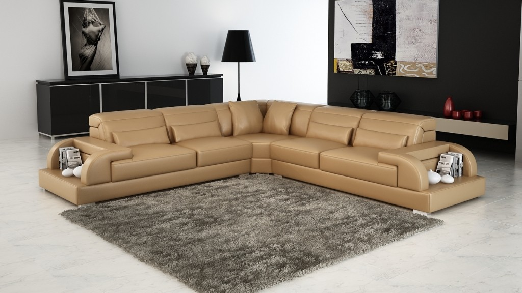 Details About Modern Large Leather Sofa Corner Suite New Sandbeige Black Modular
