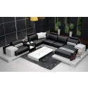 Nurburg Black & White Leather Sofa