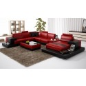 Nurburg Red-Black Leather Sofa