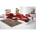 Nurburg Red & White Leather Sofa