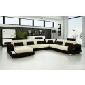 Pesaro Beige & Chocolate Leather Sofa