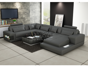 Royal Grey Leather Sofa
