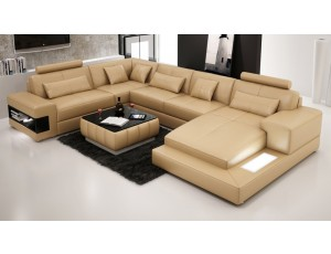 Royal Sandbeige Leather Sofa INSTOCK