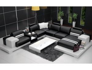 Nurburg Black & White Leather Sofa