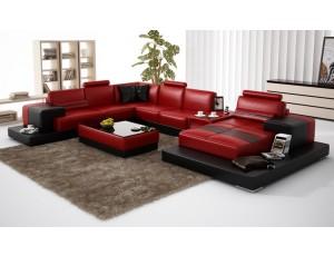 Nurburg Red-Black Leather Sofa