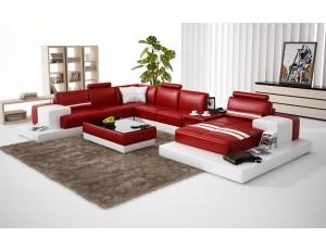 Nurburg Red & White Leather Sofa