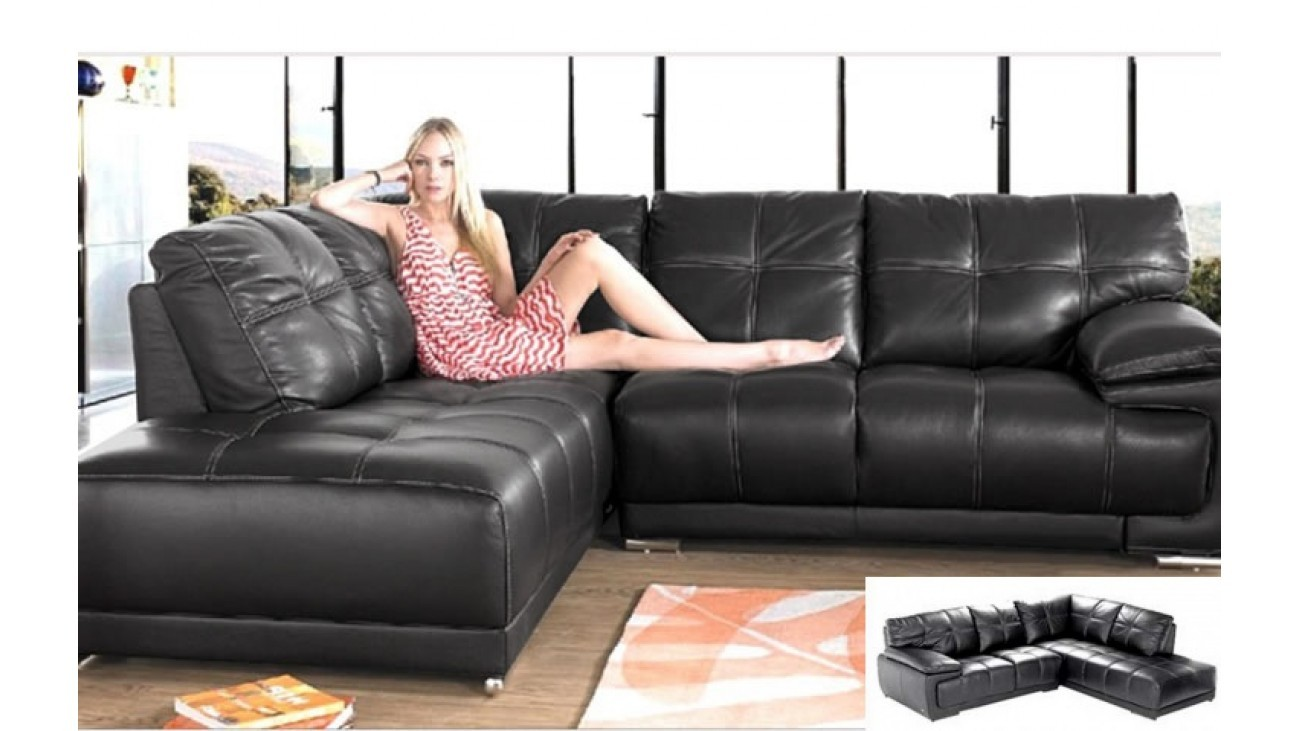 Denise Corner Sofa Black INSTOCK