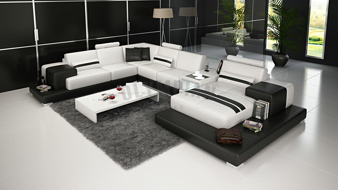 modern large leather sofa corner suite new rrp 5499 black white ebay. Black Bedroom Furniture Sets. Home Design Ideas